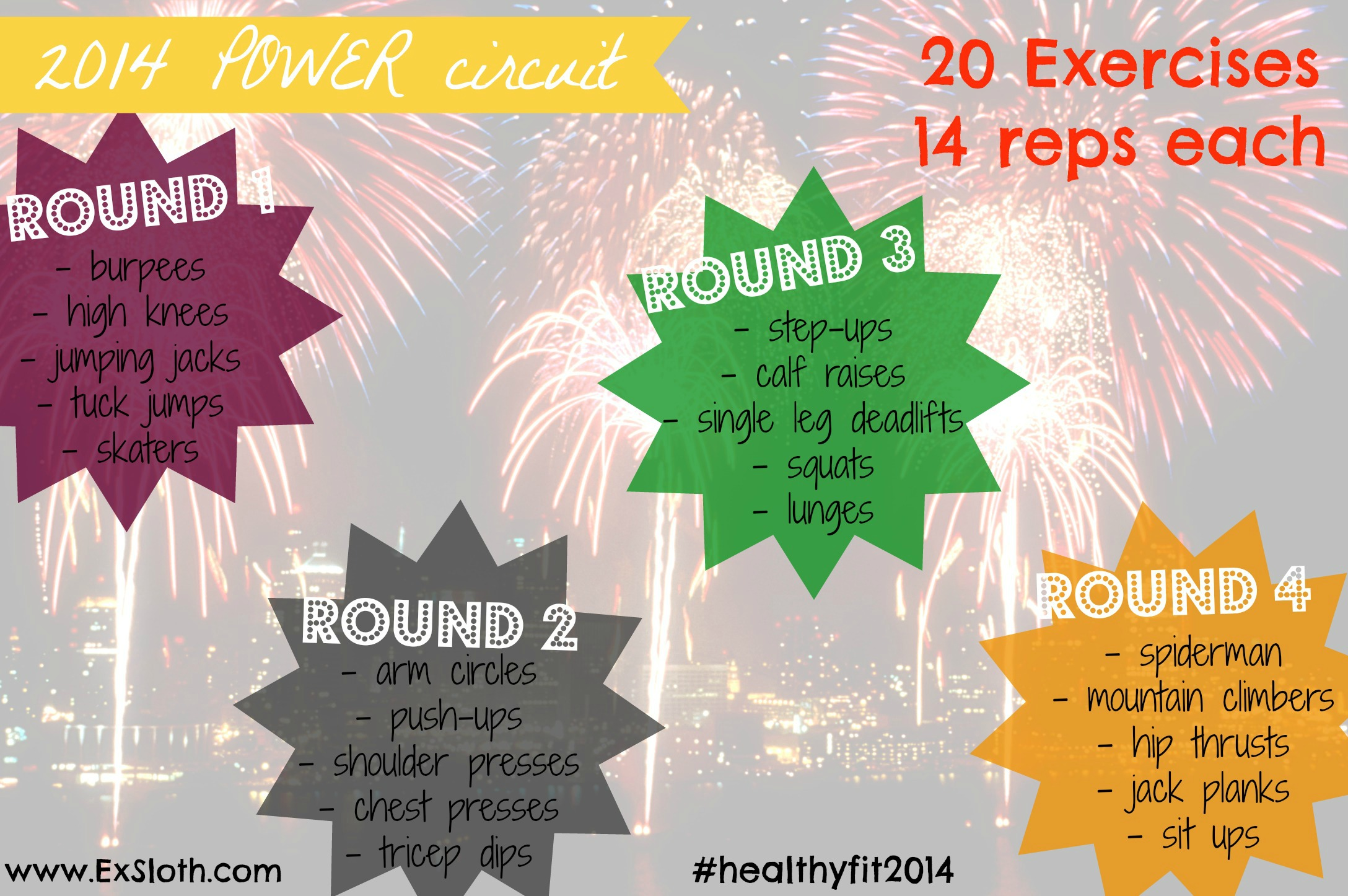 2014 Power Circuit Workout Goodbye 2013 Diary Of An Exsloth Training Exercises No Equipment Body Weight Via