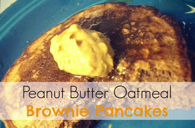 Peanut Butter Oatmeal Brownie Pancakes | @ExSloth