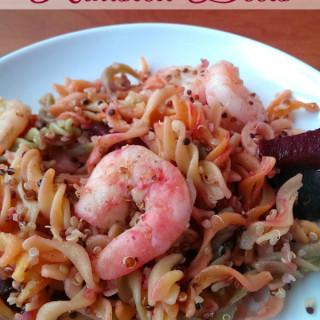 Garlic Shrimp Pasta with Roasted Beets