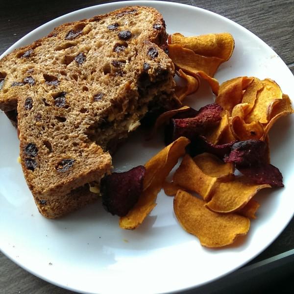 veggie burger & sweet potato/beet chips | @ExSloth