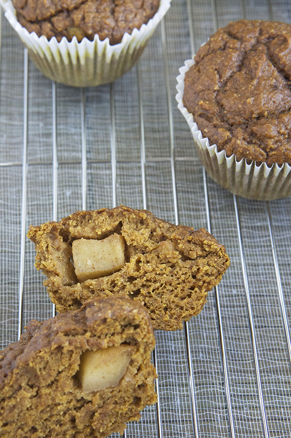 Apple Surprise Pumpkin Spice Muffins @ExSloth | ExSloth.com