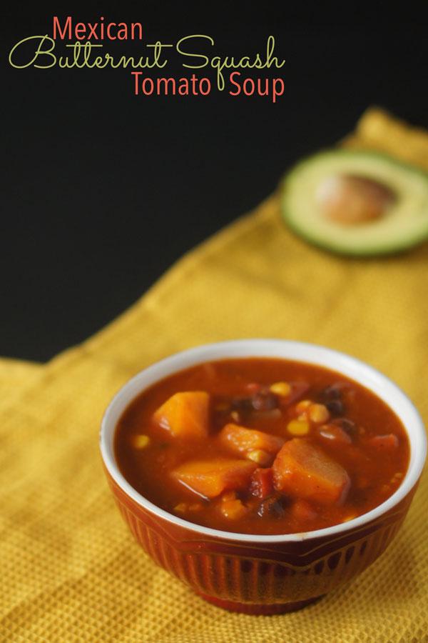Mexican Butternut Squash Tomato Soup via @ExSloth | ExSloth.com