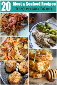 A round up of 20 Healthy Meat & Seafood Recipes for more varied dinners via @ExSloth | ExSloth.com