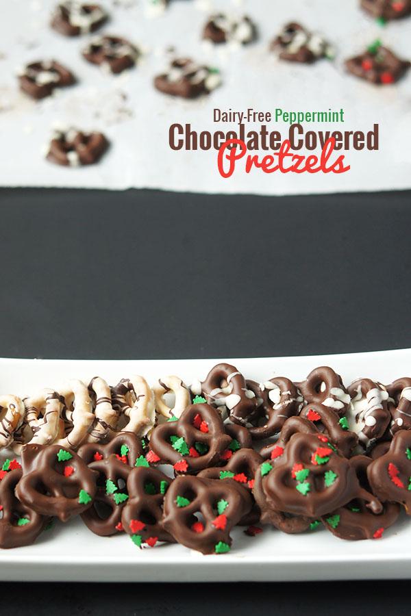 #DairyFree Peppermint Chocolate Covered Pretzels  Recipe via @ExSloth | ExSloth.com