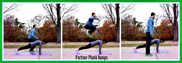 The City Skinny Partner Plank Jumps
