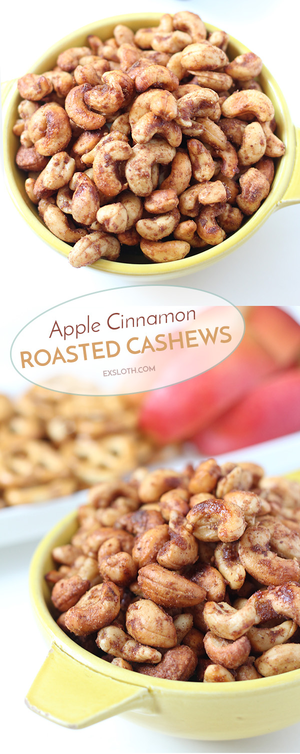 These apple cinnamon roasted cashews are crunchy and slightly sweet and are the perfect combination of the apples and cinnamon, without overpowering the taste of the cashews. via @ExSloth | ExSloth.com