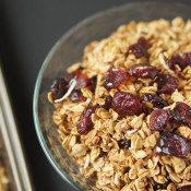 This slightly tart, mostly sweet Coconut Cranberry Orange Granola is gluten-free, vegan and ridiculously easy to make via @ExSloth | ExSloth.com
