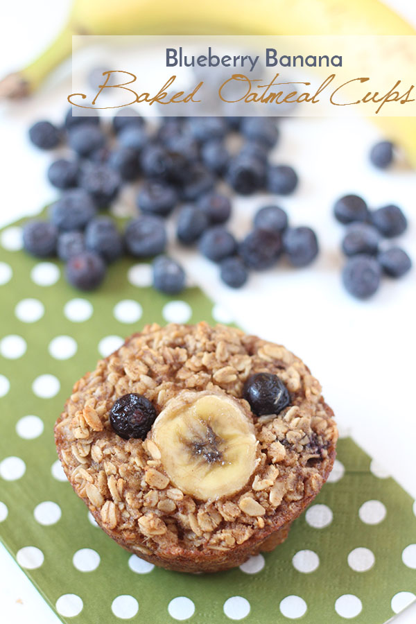 These blueberry banana baked oatmeal cups are soft, chewy, easily customizable and freeze really well. Plus, they're gluten-free, dairy-free and refined sugar free. Perfect for breakfast or brunch via @ExSloth | ExSloth.com