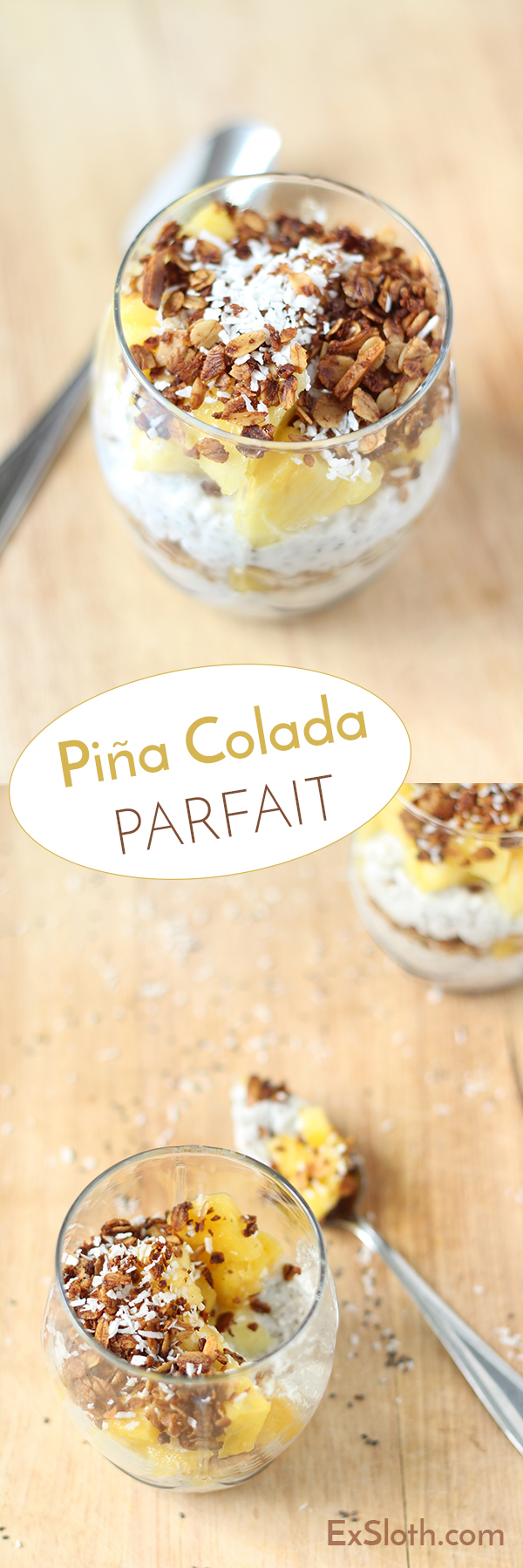 Vegan, Gluten Free Pina Colada Parfait with chia seed coconut milk 'yogurt' via @ExSloth | ExSloth.com