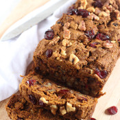 vegan cranberry walnut pumpkin bread via @ExSloth | ExSloth.com