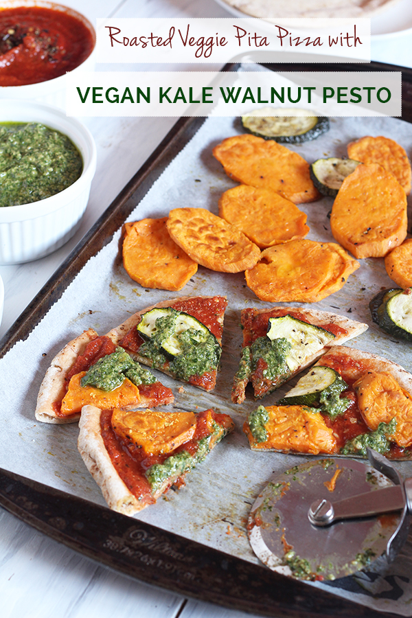 Roasted Veggie Pita Pizza with Vegan Kale Walnut Pesto via @ExSloth | ExSloth.com