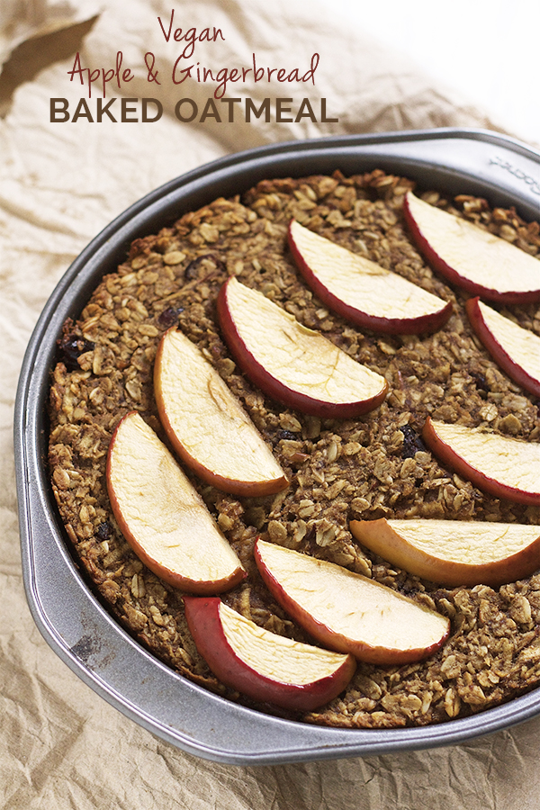 ... Vegan Apple and Gingerbread Baked Oatmeal via @ExSloth | ExSloth.com