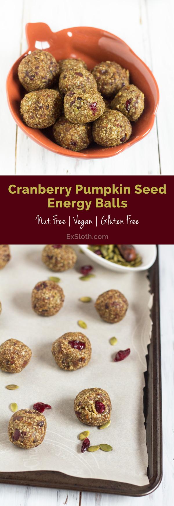 Vegan, Gluten Free & Nut Free Cranberry Pumpkin Seed Energy Balls via @ExSloth | ExSloth.com