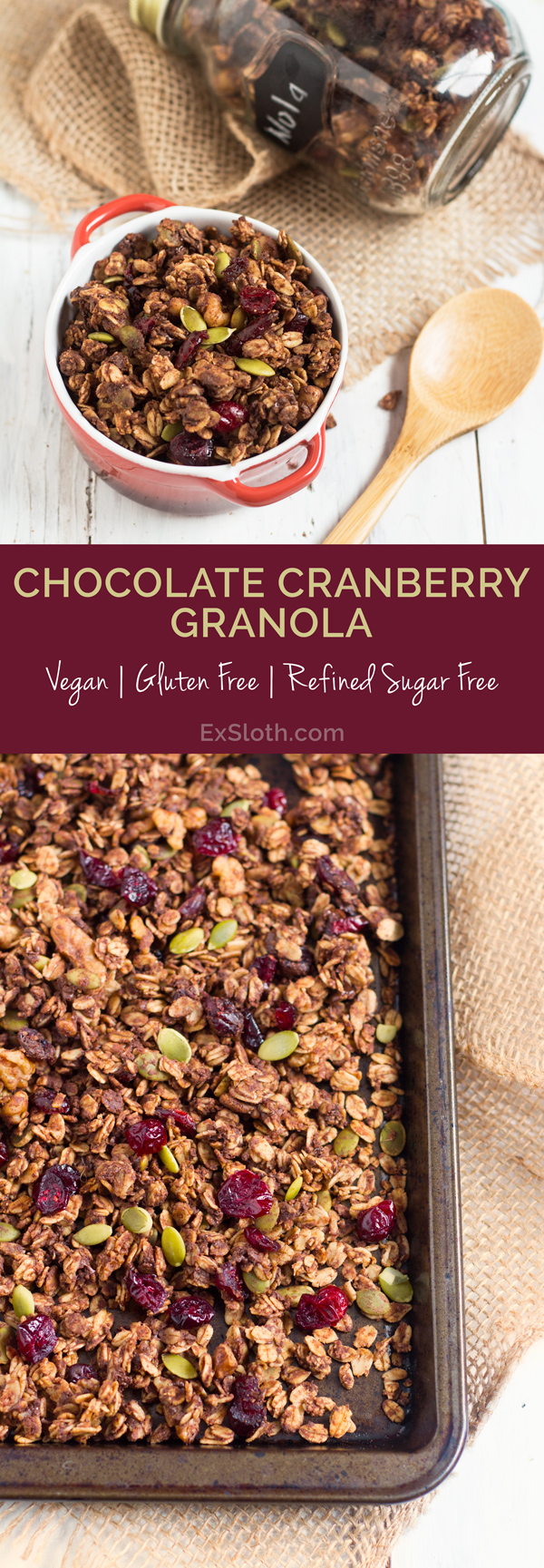 Healthy, Vegan Chocolate Cranberry Granola Recipe via @ExSloth | ExSloth.com