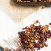 Healthy, Vegan Chocolate Cranberry Granola Recipe via @ExSloth   ExSloth.com