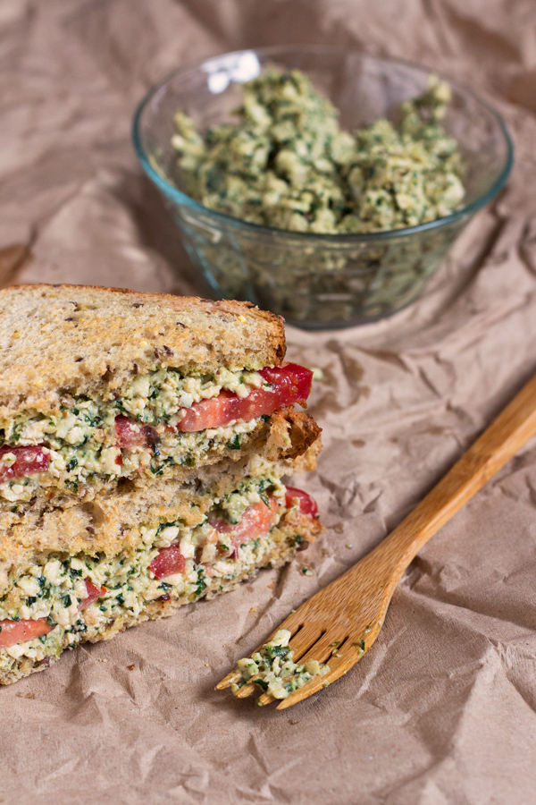 Vegan Tofu Pesto Sandwich via @ExSloth | ExSloth.com