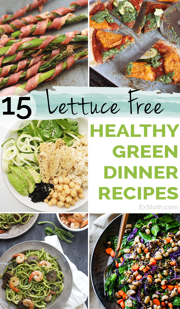 15 lettuce-free healthy green recipes for lunch and/or dinner via @ExSloth | ExSloth.com