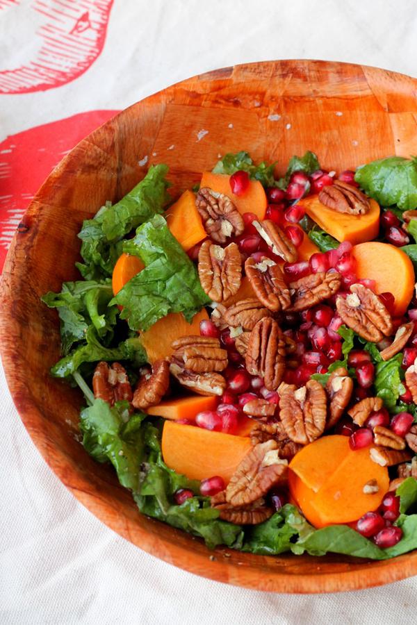 kale persimmon and pecan salad