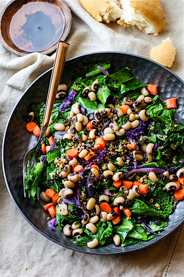 rainbow power greens salad with black beans via cotter crunch