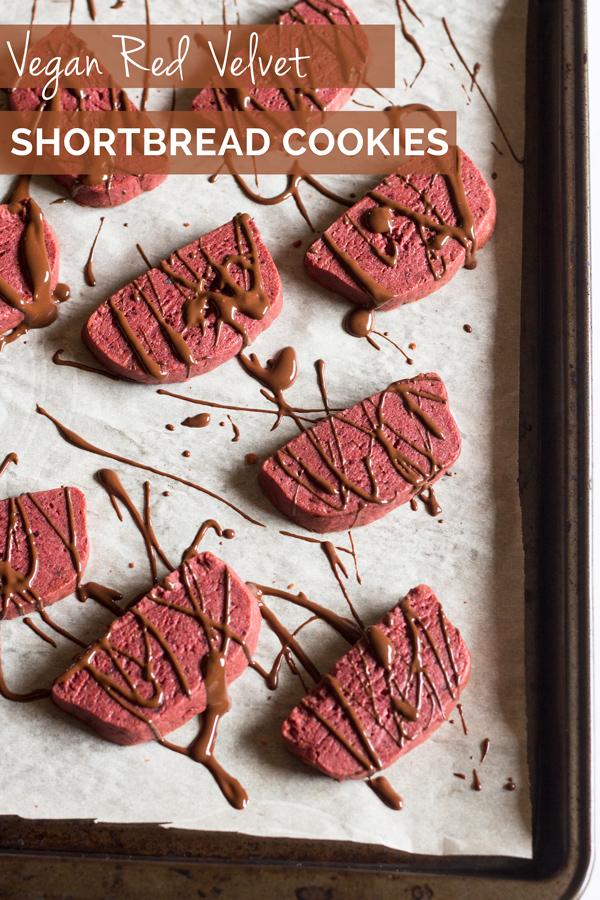 Vegan Red Velvet Shortbread Cookies + 4 vegan Valentine's Day Recipes via @ExSloth   ExSloth.com