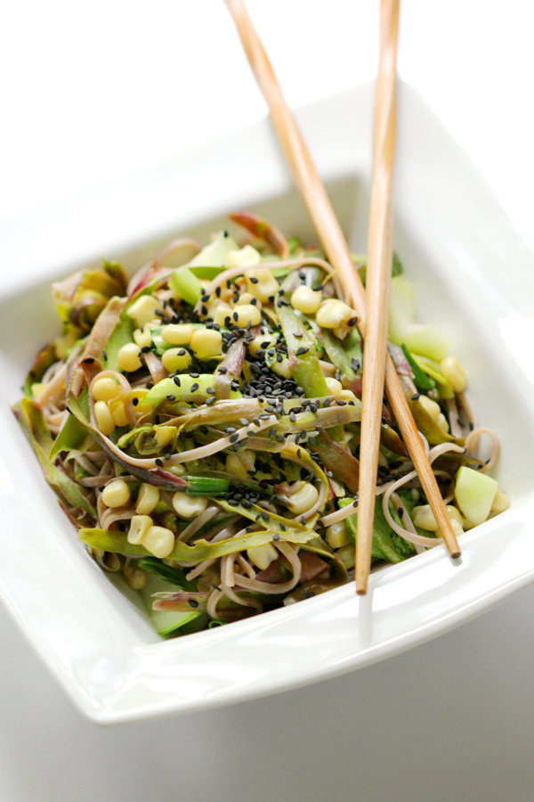 Shaved Purple Asparagus and Asian Veggie Soba Noodles via Strength & Sunshine