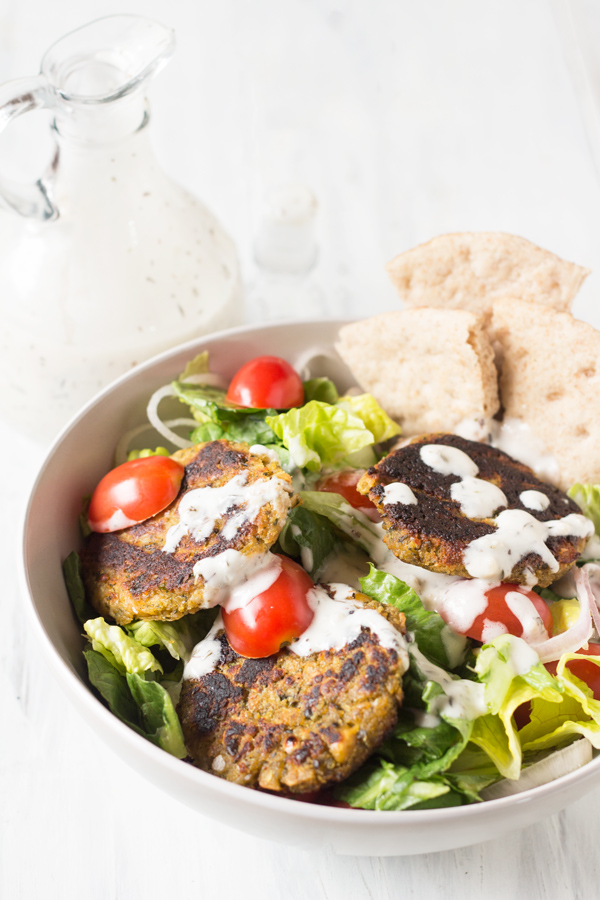 Spinach Almond Falafel Salad with Vegan Garlic Mayo Dressing - 10 Vegan Salad Dressings | ExSloth.com