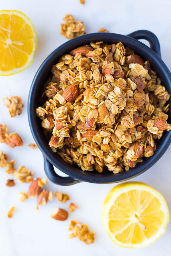 Lemon Chia Seed Granola via Fooduzzi [VF - vegan modifications provided]