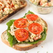 Easy Vegan Open-Faced Chickpea Salad Sandwich for Recipe ReDux via @ExSloth | ExSloth.com