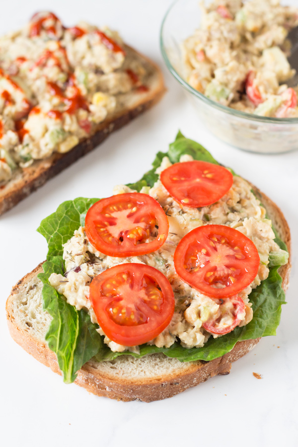 Easy Open-Faced Vegan Chickpea Salad Sandwich for Recipe ReDux via @ExSloth | ExSloth.com