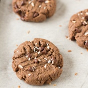 These vegan brownie cookies have a light crust/crunch on the outside but are soft, chewy and basically brownie-like on the inside. Plus, they're made with coconut flour and sunflower seed butter so they're gluten-free, nut-free and paleo via @ExSloth | ExSloth.com