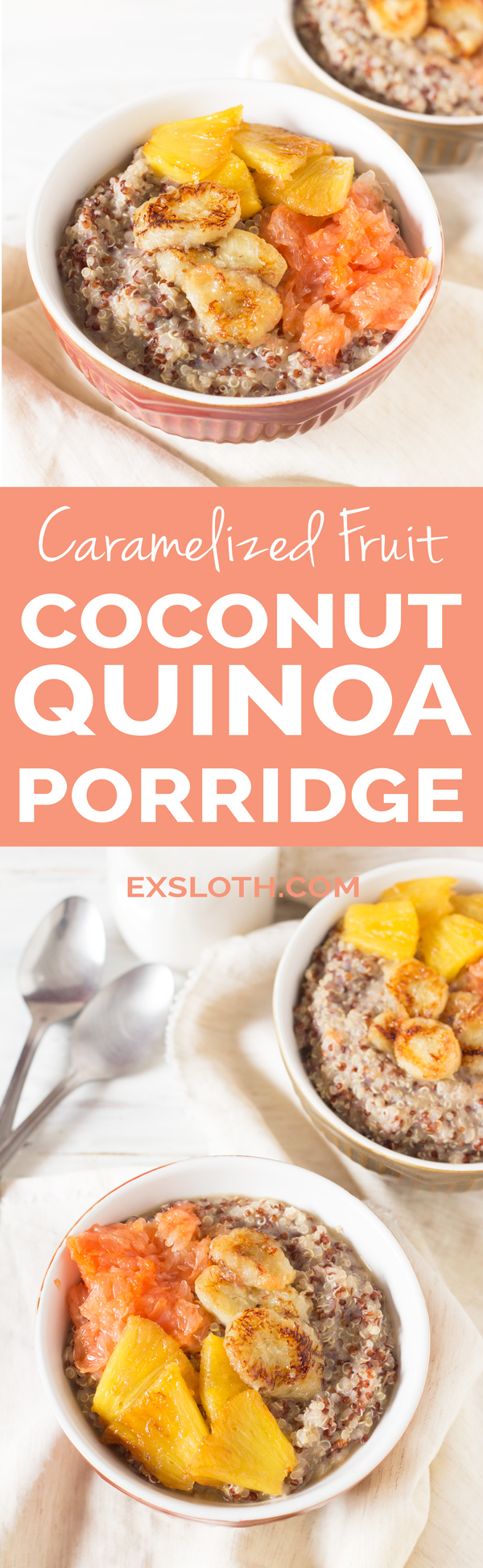 Easy Gluten-Free Vegan Caramelized Fruit Coconut Quinoa Porridge via @ExSloth | ExSloth.com
