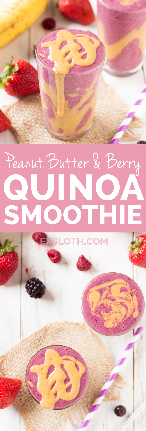 Peanut Butter and Berry Quinoa Smoothie via @ExSloth | ExSloth.com
