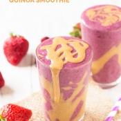 Peanut Butter and Berry Quinoa Smoothie via @ExSloth | ExSloth.com