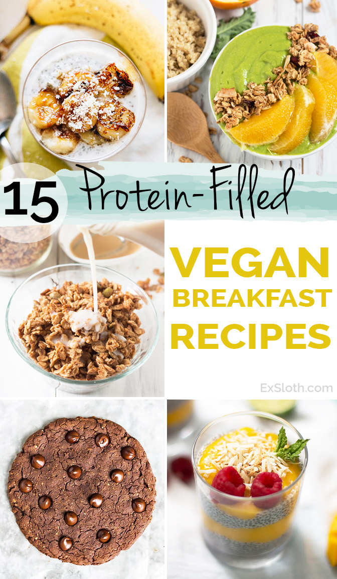 15 Protein-Filled Vegan Breakfast Recipe via @ExSloth | ExSloth.com