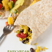 These vegan breakfast tacos are filling and flavourful, especially when topped with this super simple mango pineapple salsa via @ExSloth | ExSloth.com