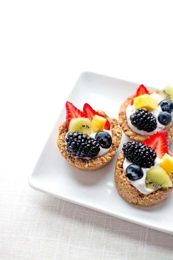 No Bake Vegan Fruit Tarts vegan 15 Vegan No Bake and Frozen Desserts that aren't Ice Cream via @ExSloth | ExSloth.com