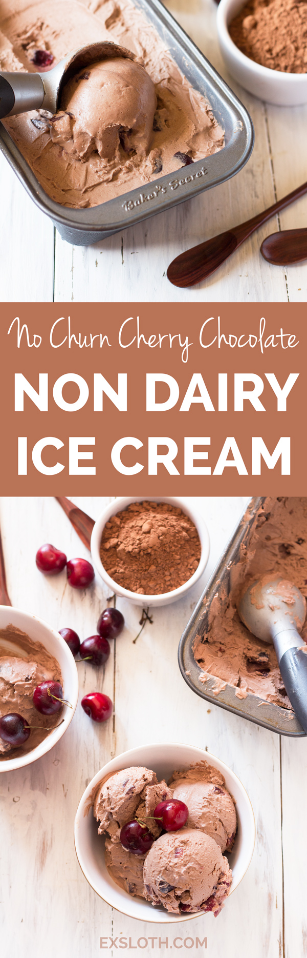 No churn cherry chocolate non dairy ice cream (Vegan, Gluten Free, Paleo) via @ExSloth | ExSloth.com