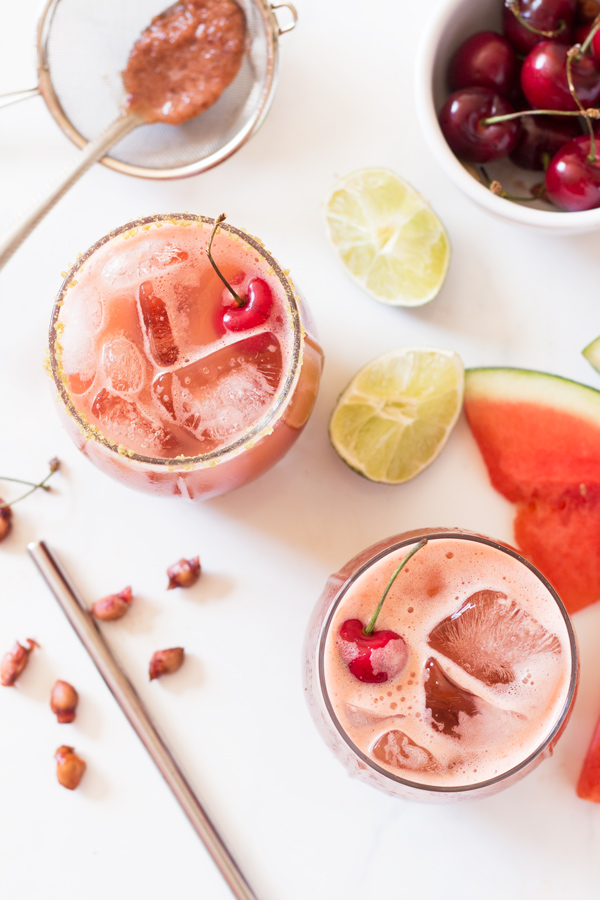 Easy Cherry Watermelon Margaritas (Vegan, Gluten Free) via @ExSloth | ExSloth.com