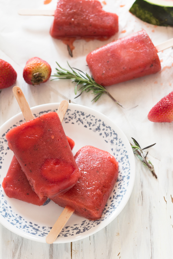 3 Ingredient Rosemary & Fruit Popsicles (Vegan, Gluten Free, Paleo) via @ExSloth | ExSloth.com
