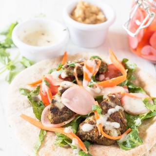 Lima Bean Falafel Wraps + Overnight Pickled Veggies