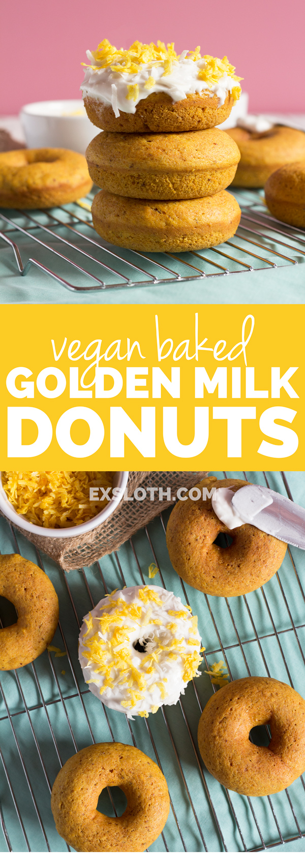 Easy Vegan Baked Golden Milk Donuts (Turmeric Tea Donuts) via @ExSloth | ExSloth.com