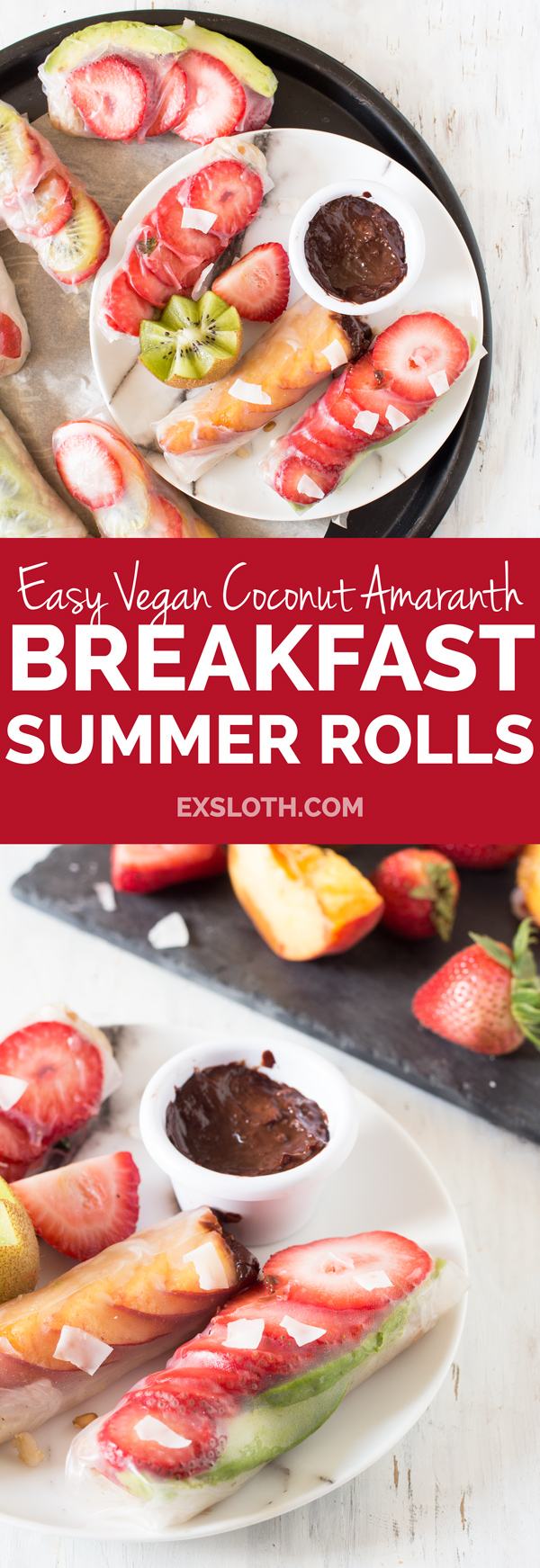 Easy Vegan Breakfast Summer Rolls (rice paper rolls or fresh spring rolls) via @ExSloth | ExSloth.com