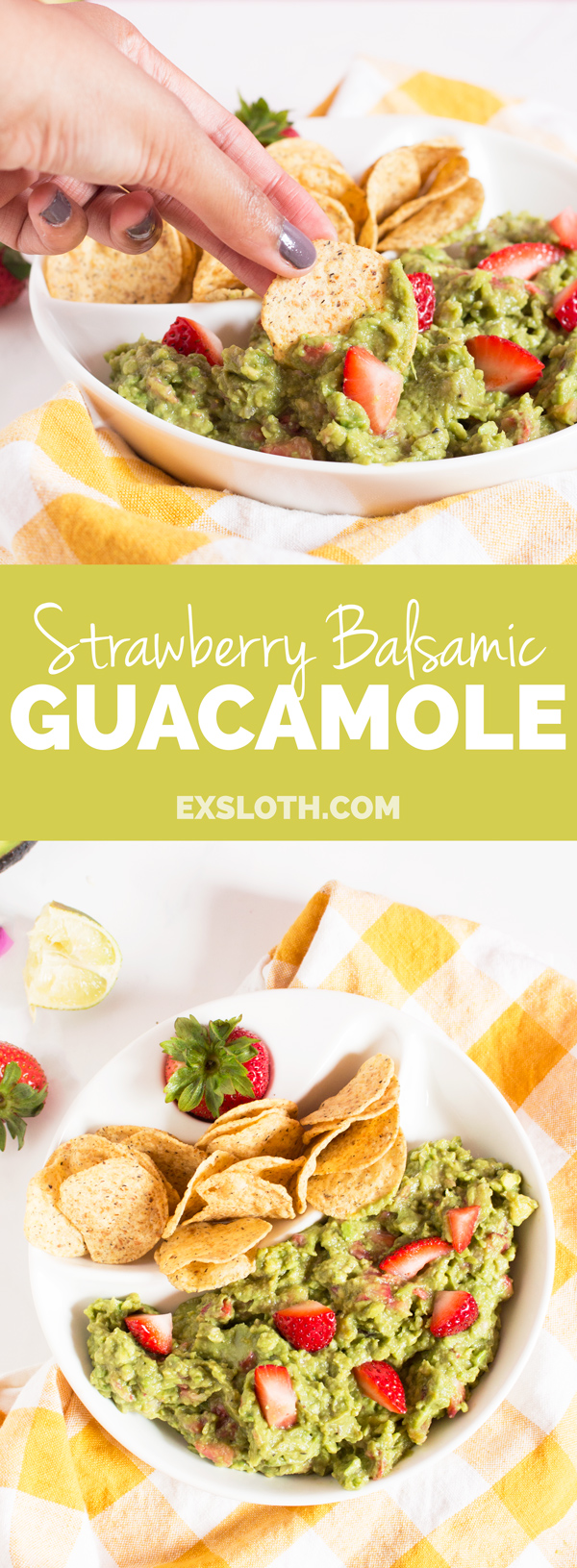 Strawberry Balsamic Guacamole via @ExSloth | ExSloth.com