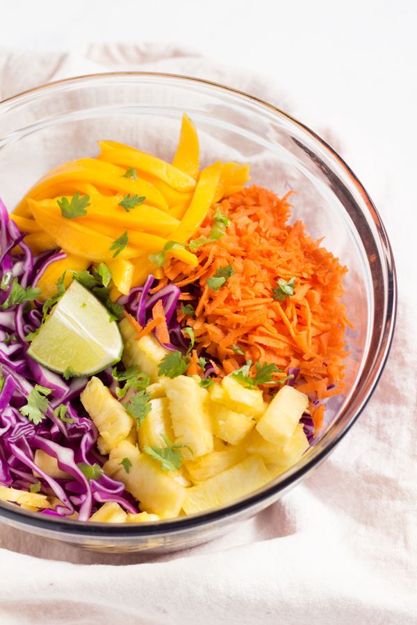 Red cabbage mango pineapple slaw diary of an exsloth easy red cabbage tropical mango pineapple slaw adapted from the classic caribbean coleslaw vegan forumfinder Gallery