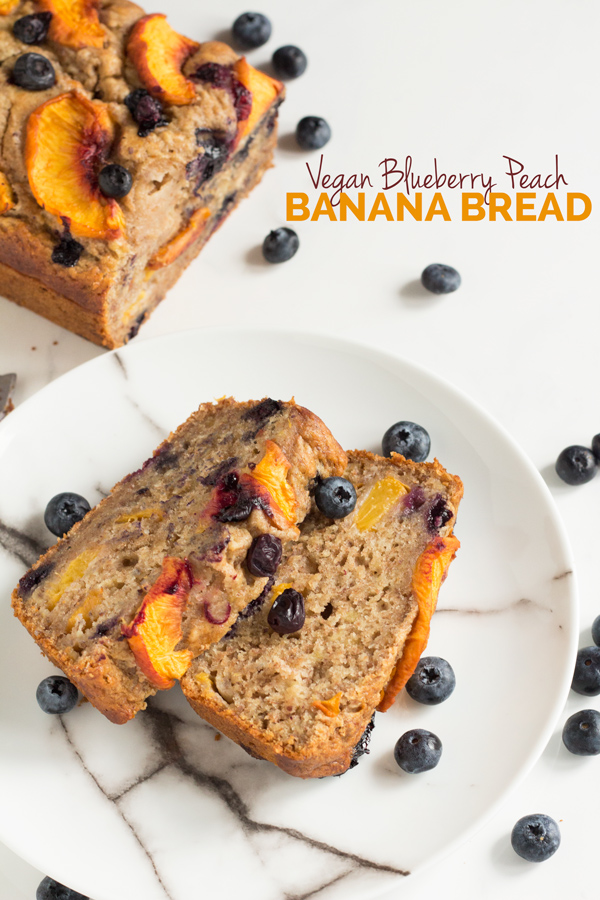 1 Bowl Vegan Blueberry Peach Banana Bread (made with spelt flour) | ExSloth.com