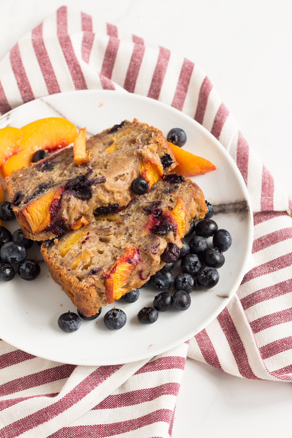 1 Bowl Blueberry Peach Vegan Banana Bread (made with spelt flour) | ExSloth.com