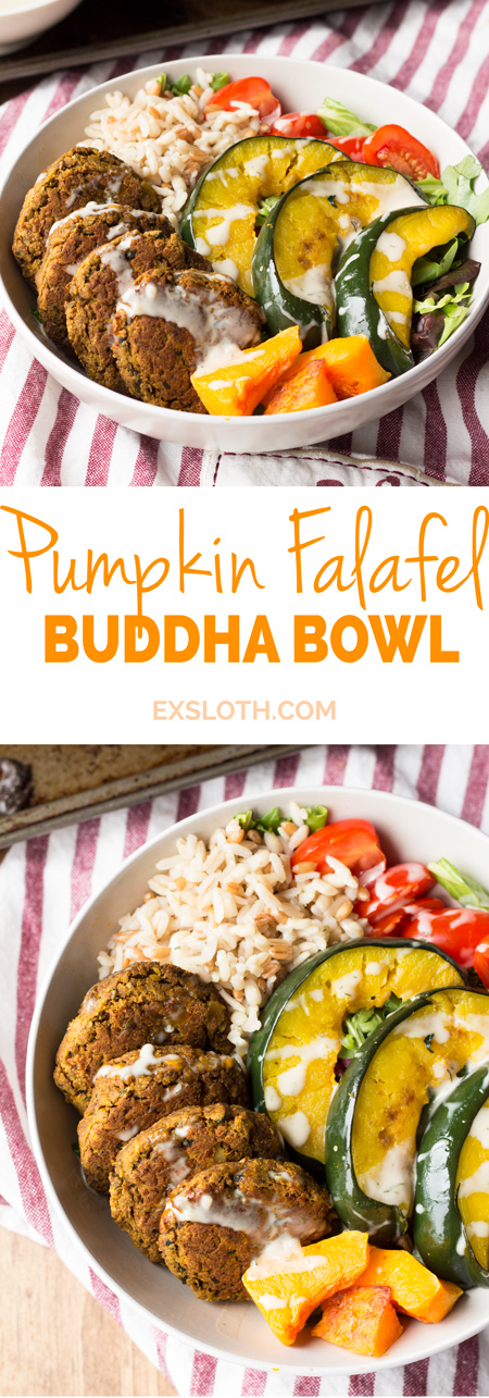 This 30 minute pumpkin falafel buddha bowl is bursting with fall flavour, fibre and lots of plant-based goodness via ExSloth.com
