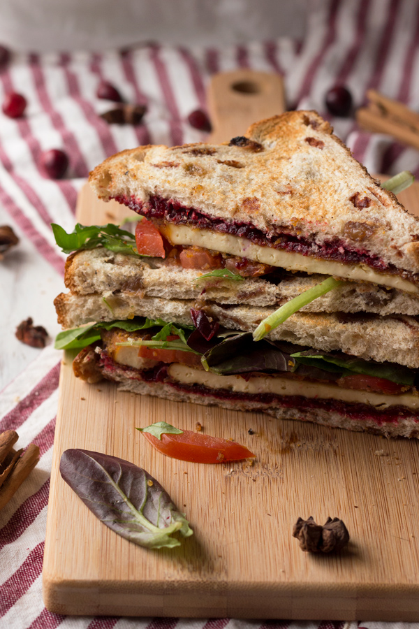 Crispy pan fried tofu with chai cranberry sauce (a vegan version of the classic Christmas or Thanksgiving leftovers sandwich) via ExSloth.com