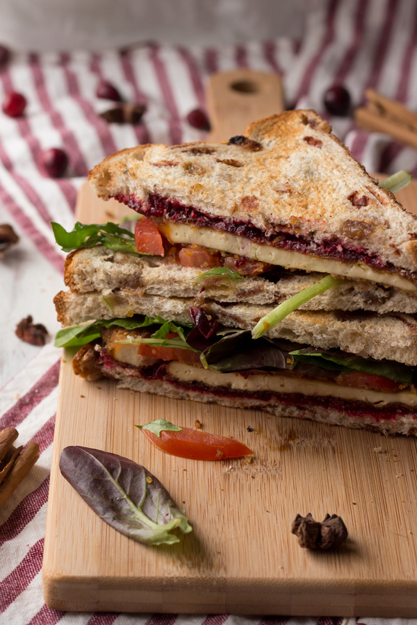 Crispy Pan Fried Tofu Sandwich with Chai Cranberry Sauce - ExSloth.com