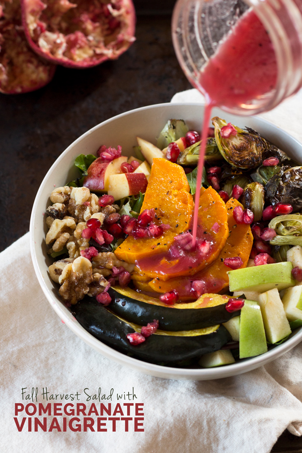 Fall harvest salad with pomegranate vinaigrette (vegan, gluten-free, paleo) - 10 Vegan Salad Dressings | ExSloth.com